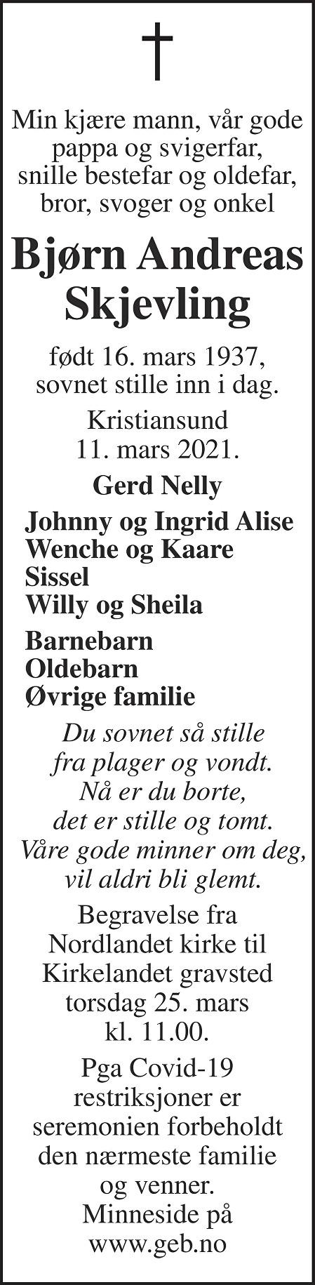 Bjørn Andreas Skjevling Dødsannonse