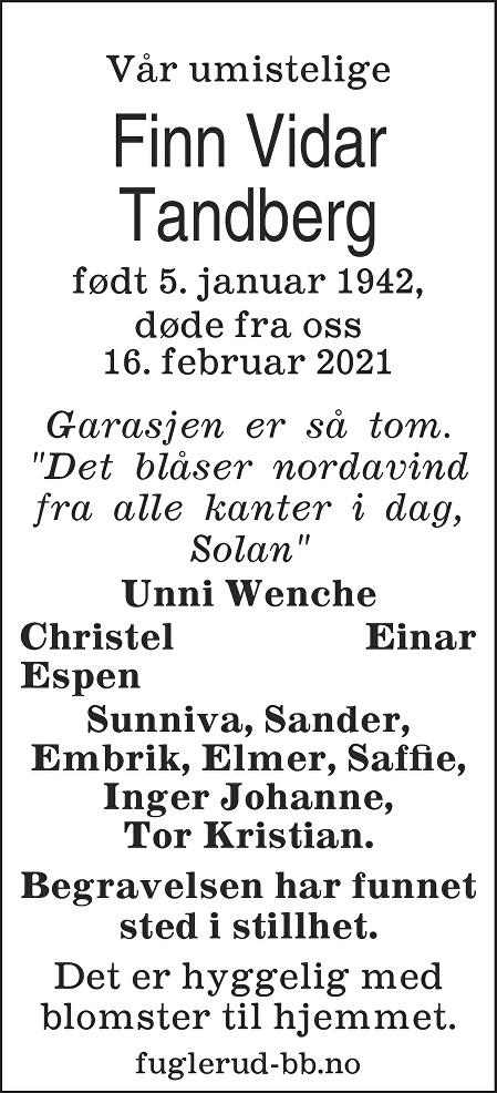 Finn Vidar Tandberg Dødsannonse