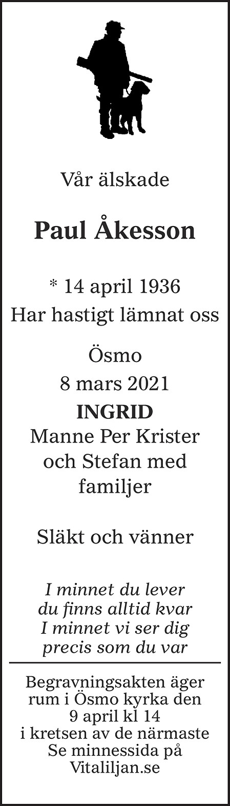 Paul Åkesson Death notice
