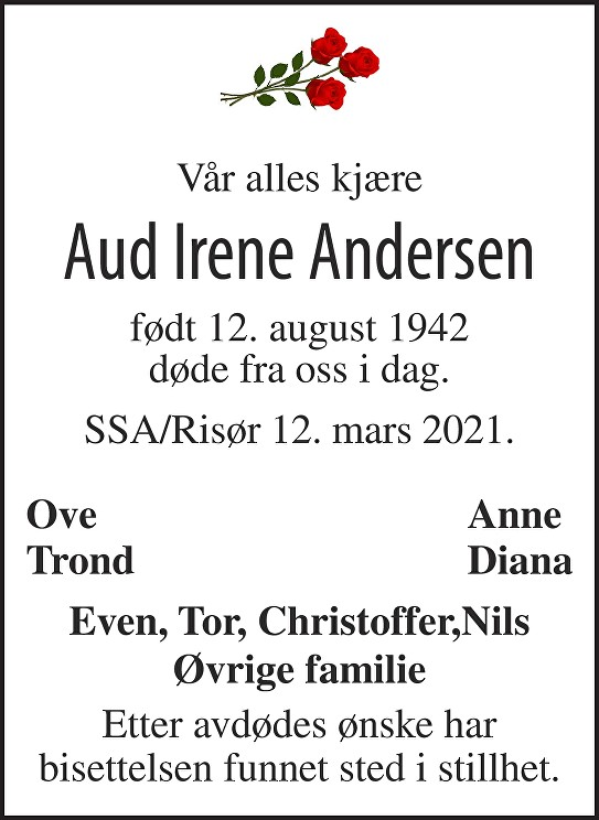 Aud Irene Andersen Dødsannonse