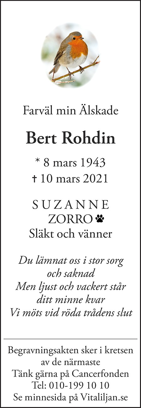 Bert  Rohdin Death notice