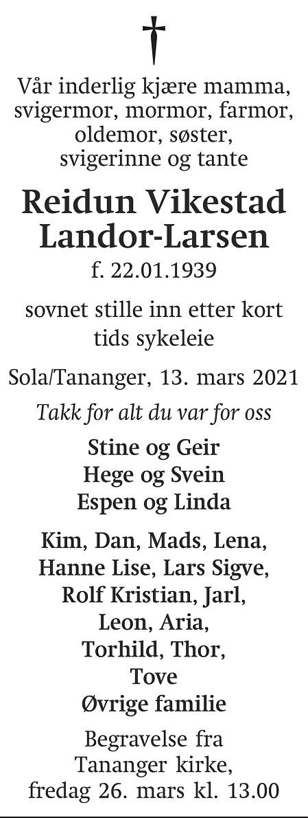 Reidun Vikestad Landor- Larsen Dødsannonse