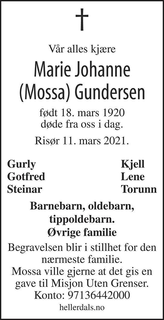 Marie Johanne (Mossa) Gundersen Dødsannonse