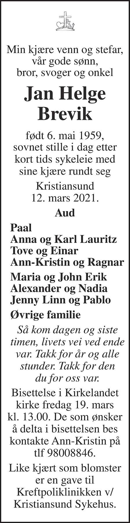 Jan Helge Brevik Dødsannonse