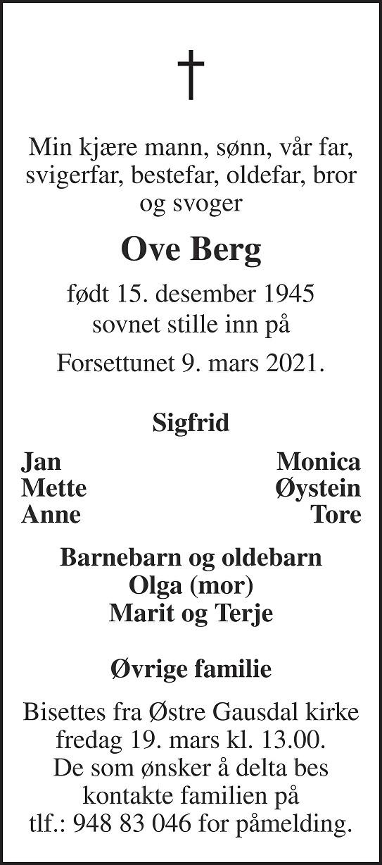 Ove Berg Dødsannonse