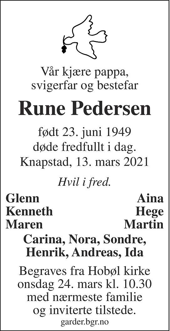 Rune Pedersen Dødsannonse
