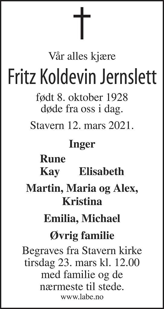 Fritz Koldevin Jernslett Dødsannonse