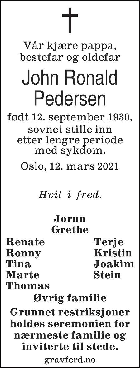 John Ronald Pedersen Dødsannonse