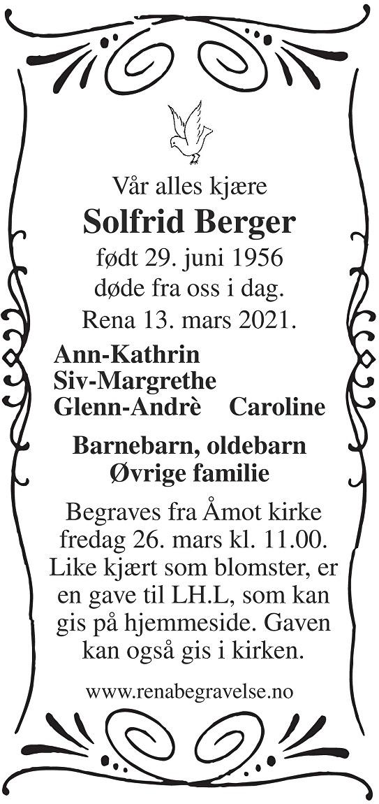 Solfrid Berger Dødsannonse