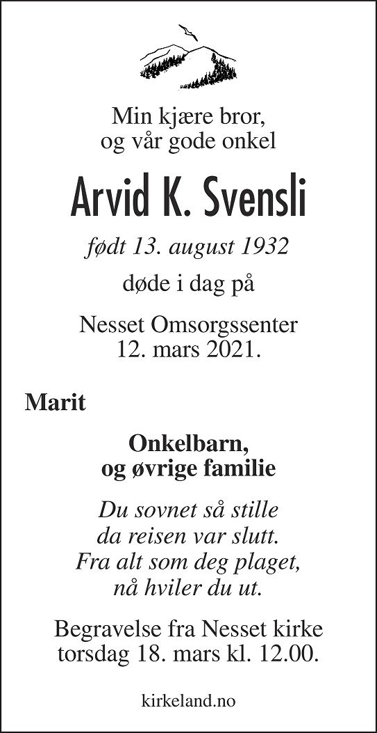 Arvid K Svensli Dødsannonse