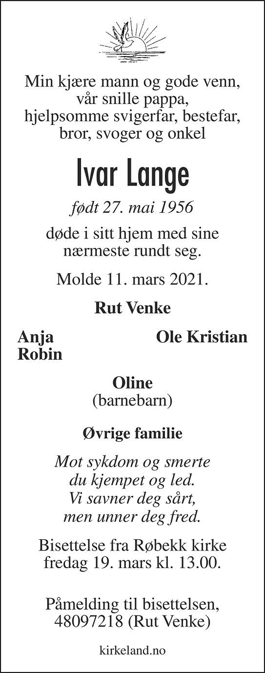 Ivar Lange Dødsannonse
