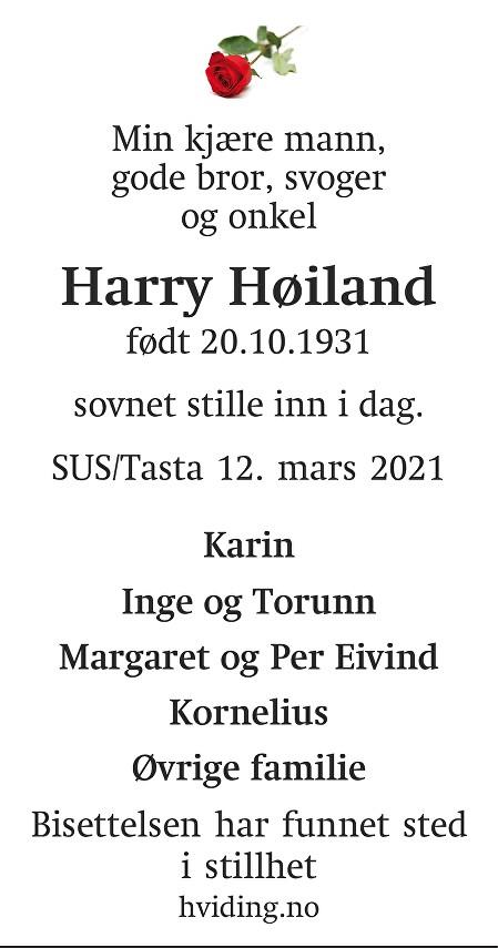 Harry Høiland Dødsannonse