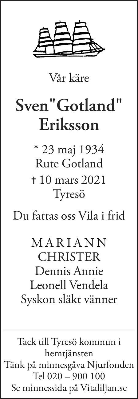 Sven Eriksson Death notice