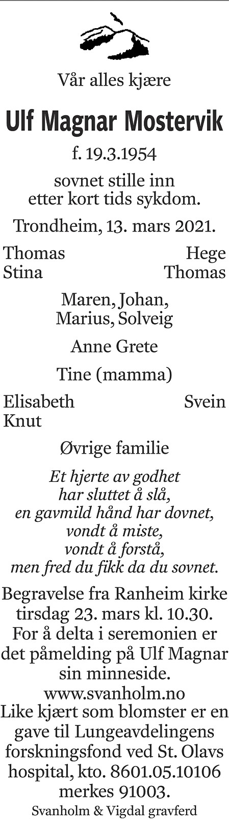 Ulf Magnar Mostervik Dødsannonse