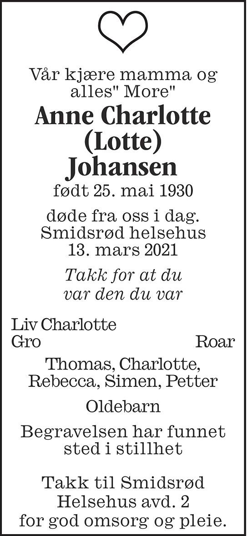 Anne Charlotte Johansen Dødsannonse