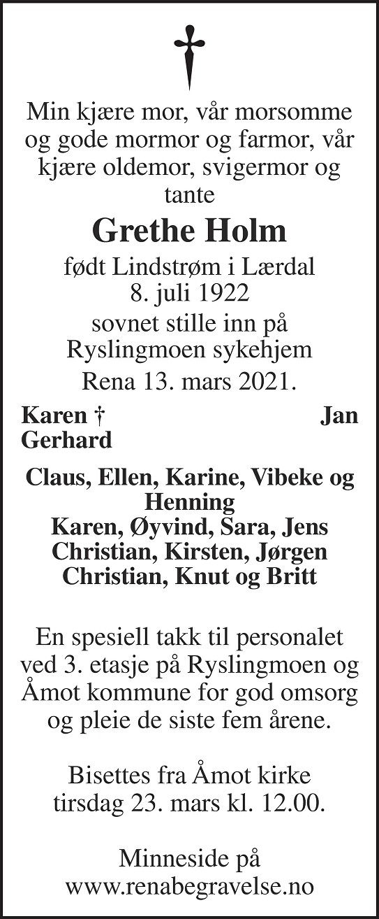 Margrethe Elisabeth Holm Dødsannonse