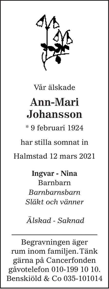 Ann-Mari Johansson Death notice