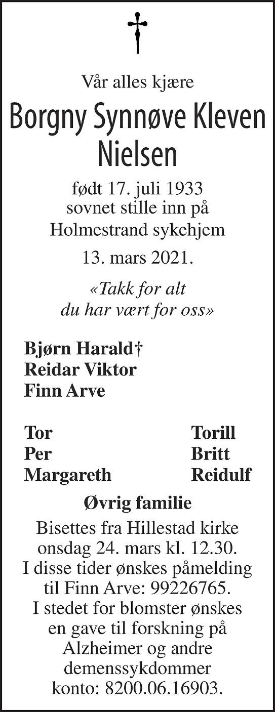 Borgny Synnøve Kleven Nielsen Dødsannonse