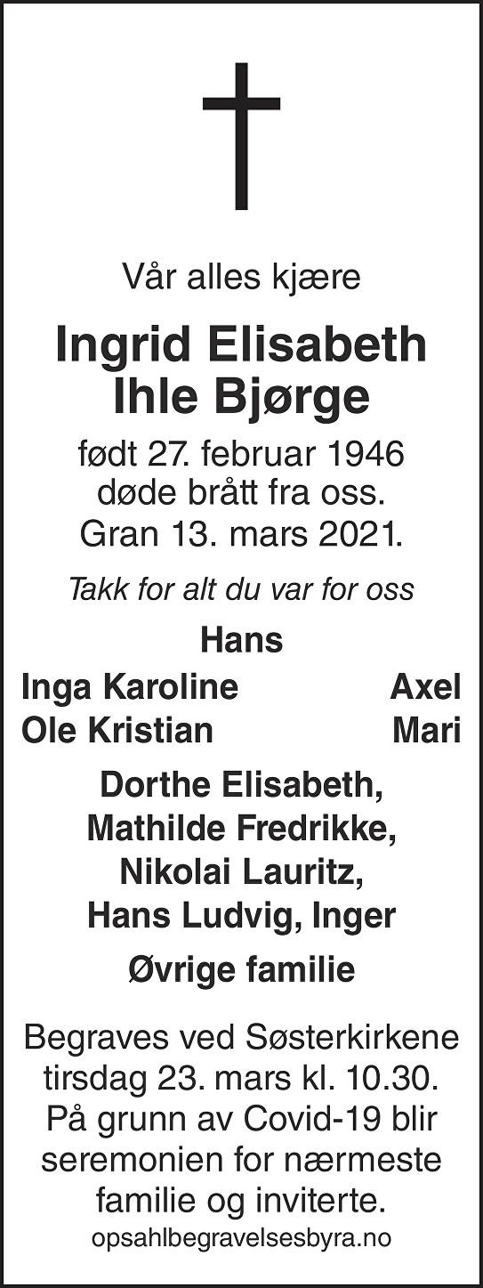 Ingrid Elisabeth Ihle Bjørge Dødsannonse