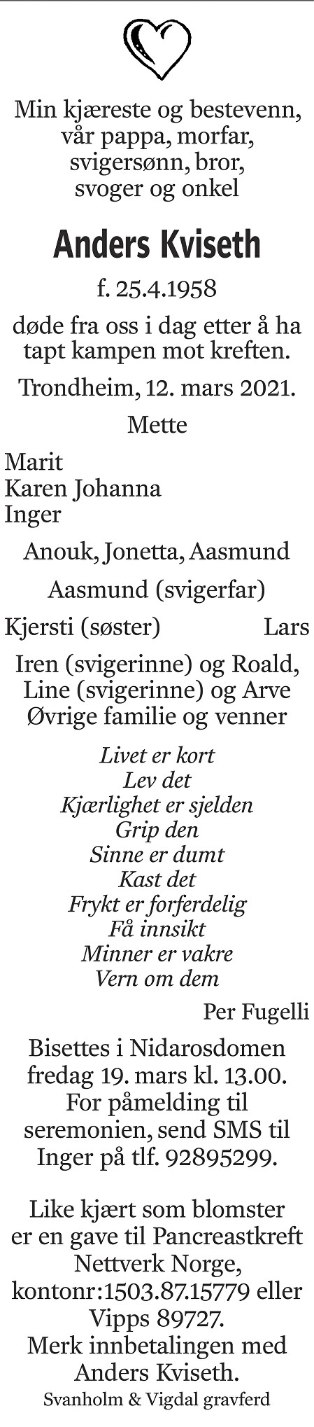 Anders Kviseth Dødsannonse