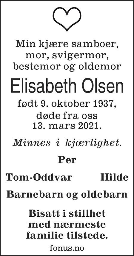 Elisabeth Olsen Dødsannonse