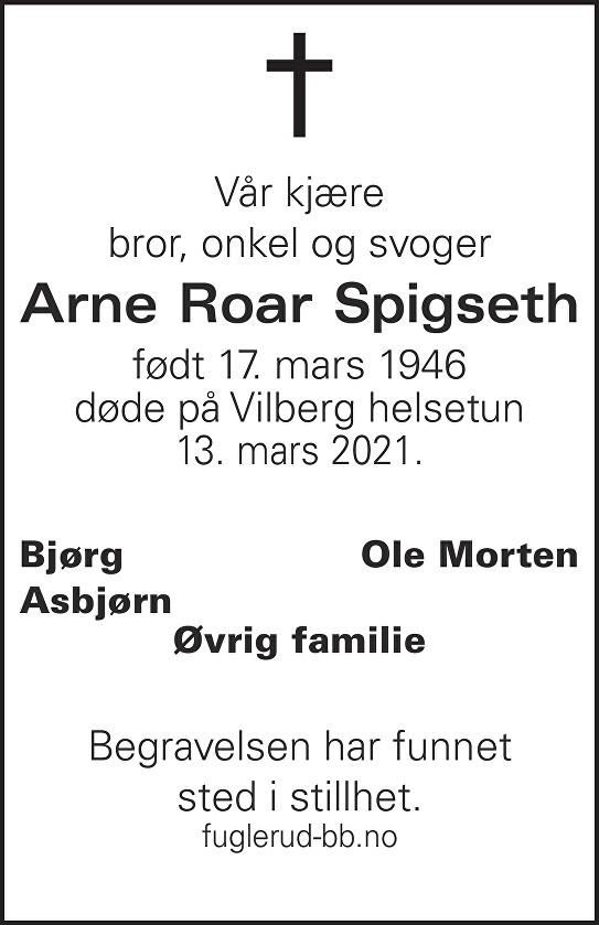 Arne Roar Spigseth Dødsannonse