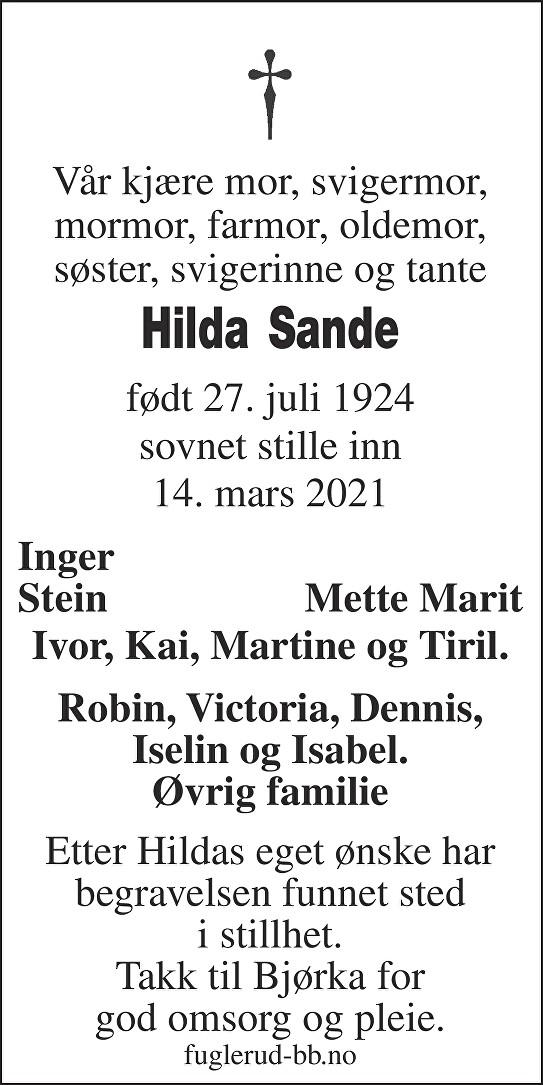 Hilda Sande Dødsannonse