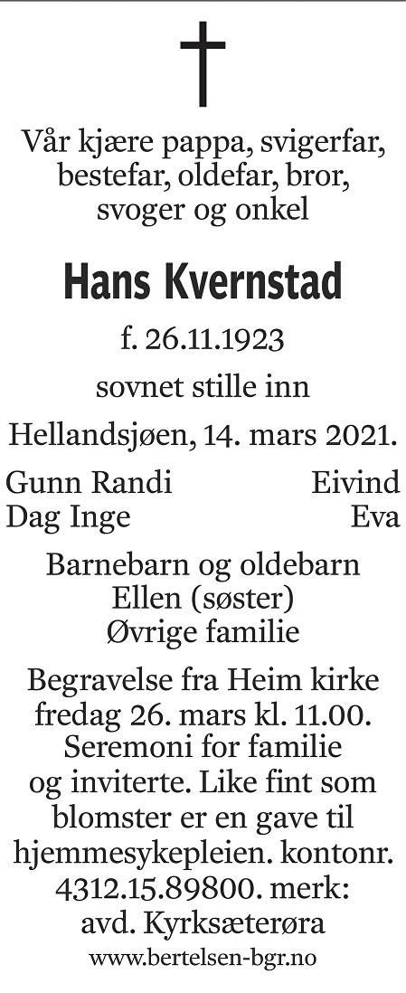 Hans Kvernstad Dødsannonse