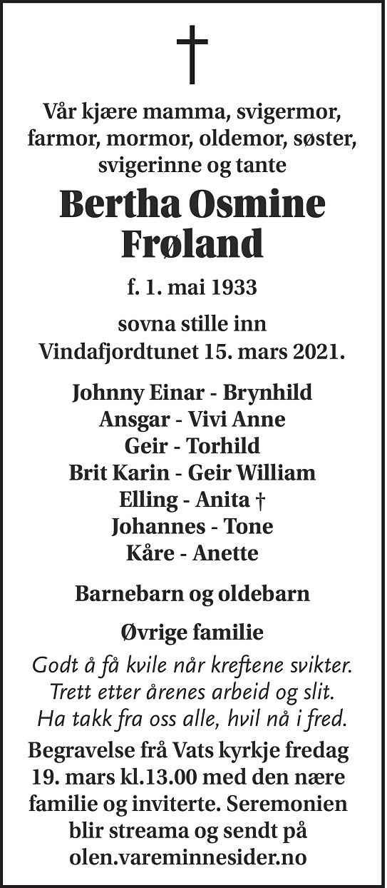 Bertha Osmine Frøland Dødsannonse