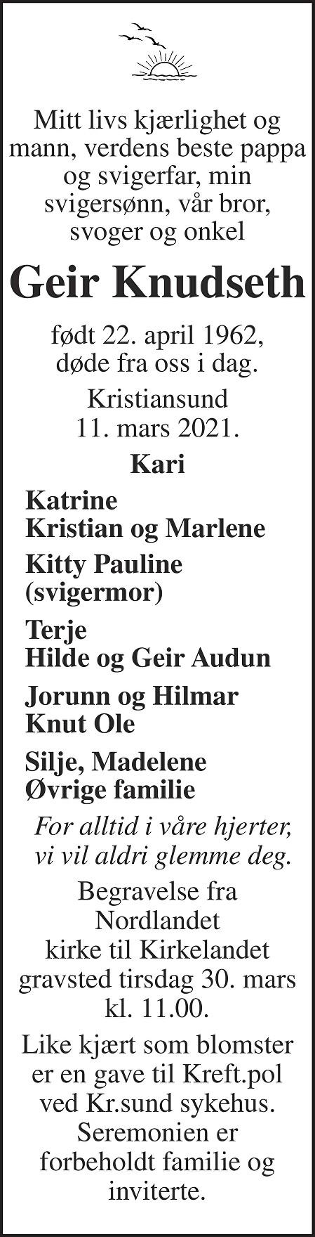 Geir Knudseth Dødsannonse
