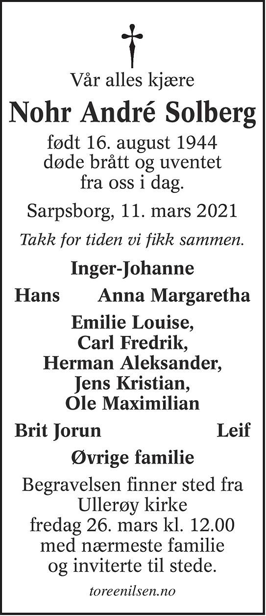 Nohr André Solberg Dødsannonse