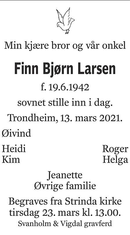 Finn Bjørn Larsen Dødsannonse