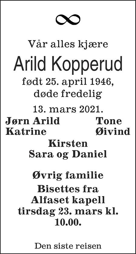 Arild Kopperud Dødsannonse