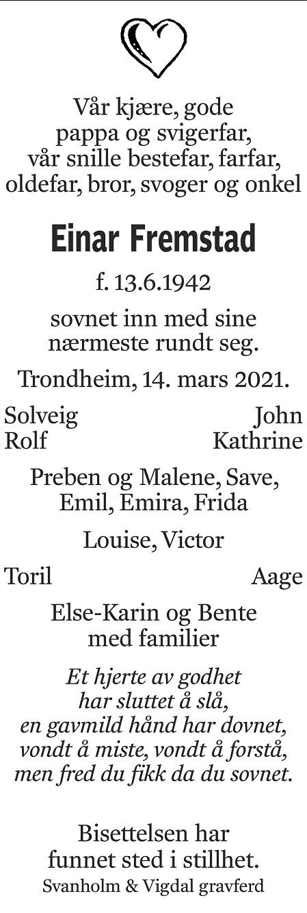 Einar Haakon Fremstad Dødsannonse