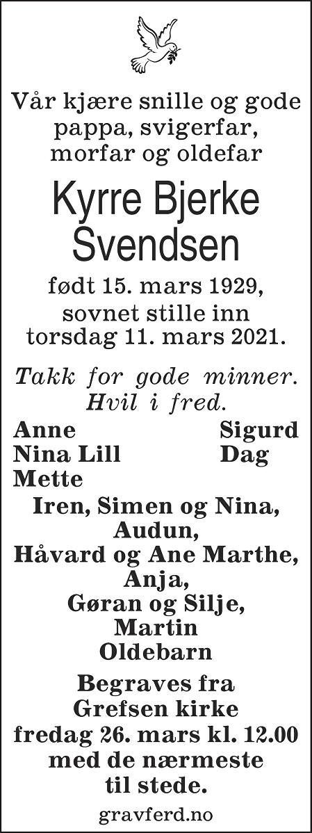Kyrre Bjerke Svendsen Dødsannonse
