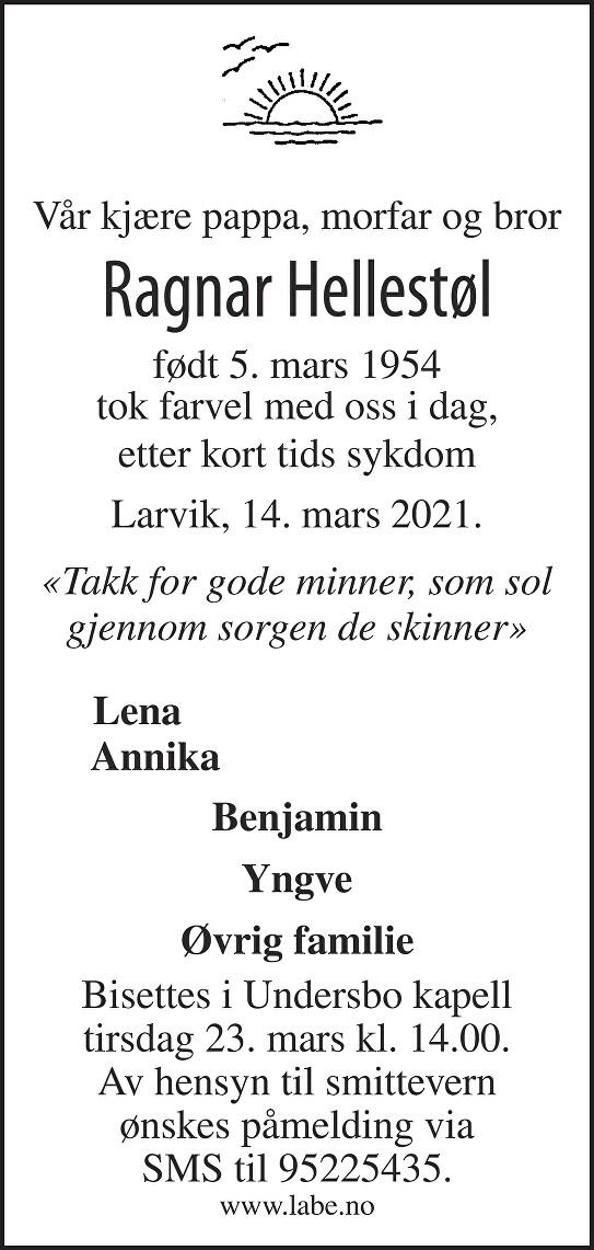 Ragnar Hellestøl Dødsannonse