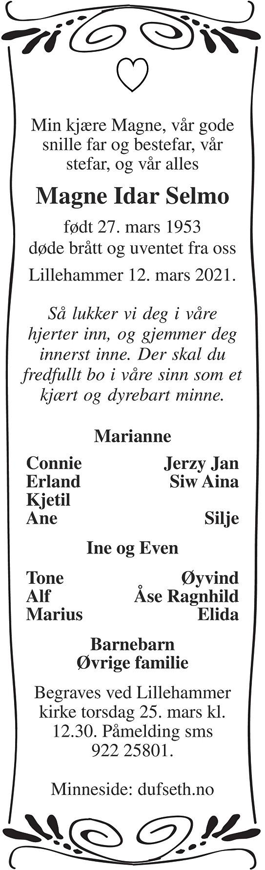 Magne Idar Selmo Dødsannonse