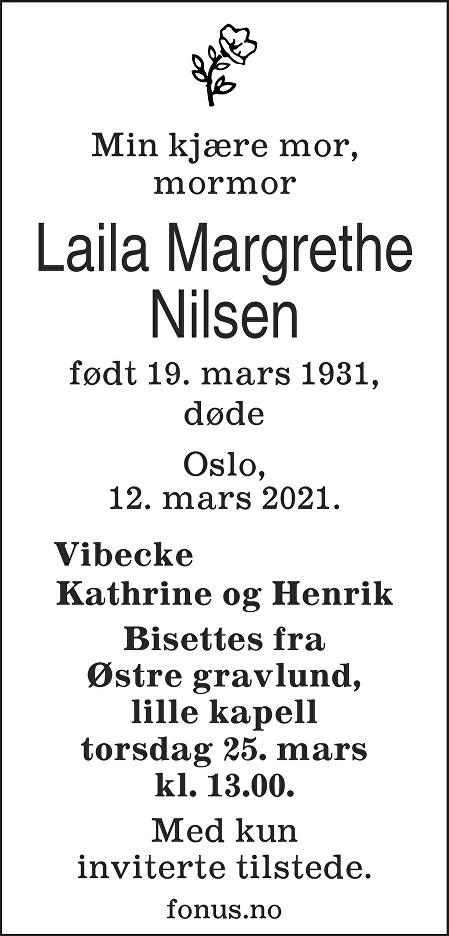 Laila Margrethe Nilsen Dødsannonse