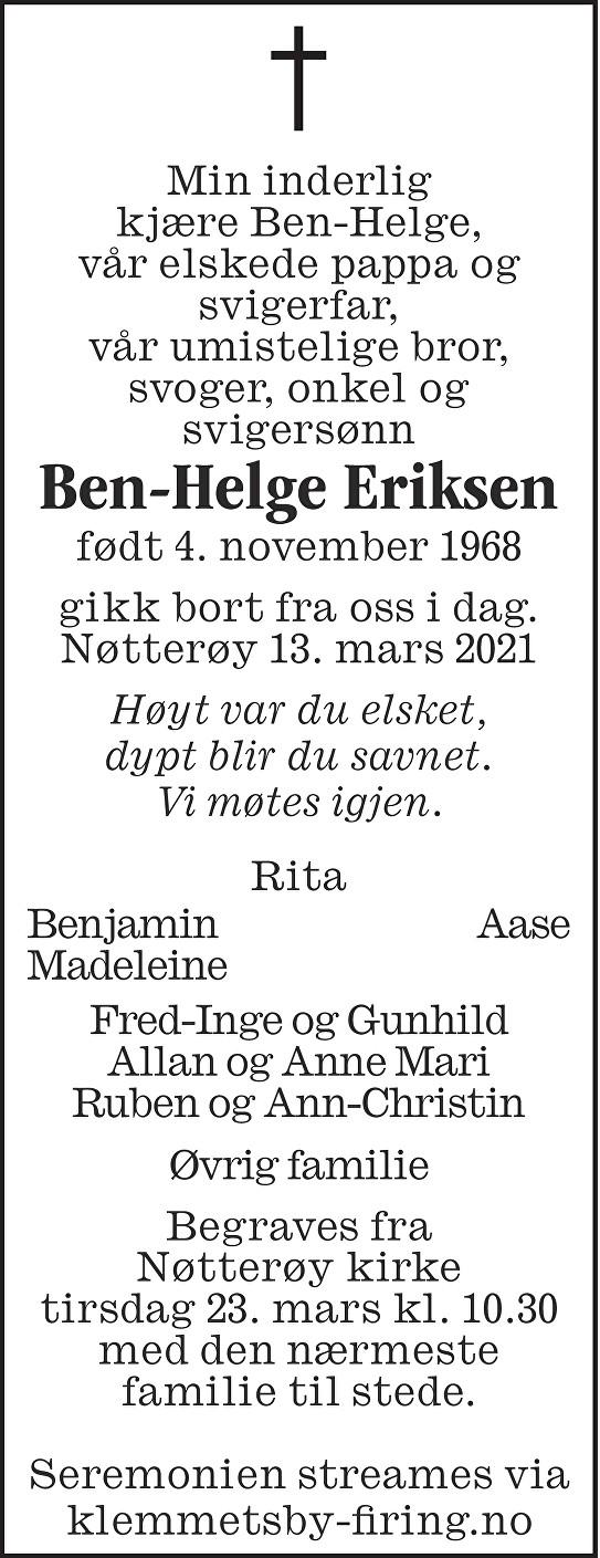 Ben-Helge Eriksen Dødsannonse