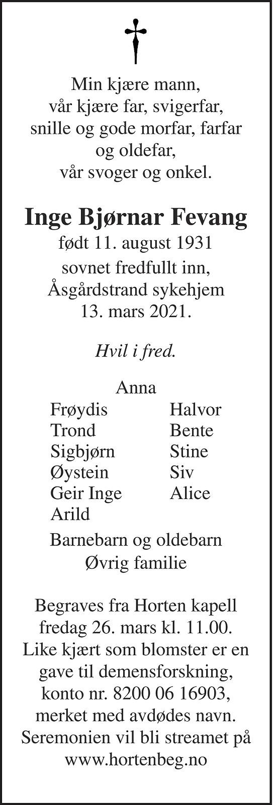 Inge Bjørnar Fevang Dødsannonse