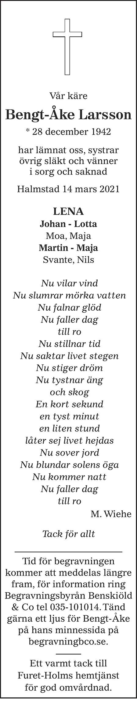 Bengt-Åke Larsson Death notice