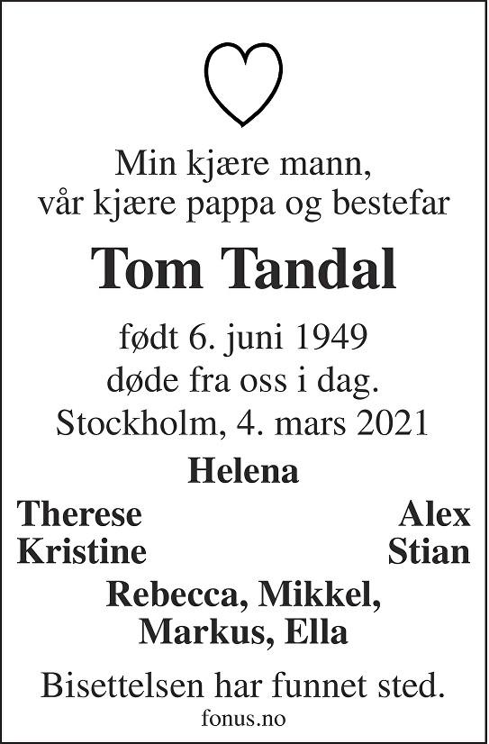 Tom Tandal Dødsannonse