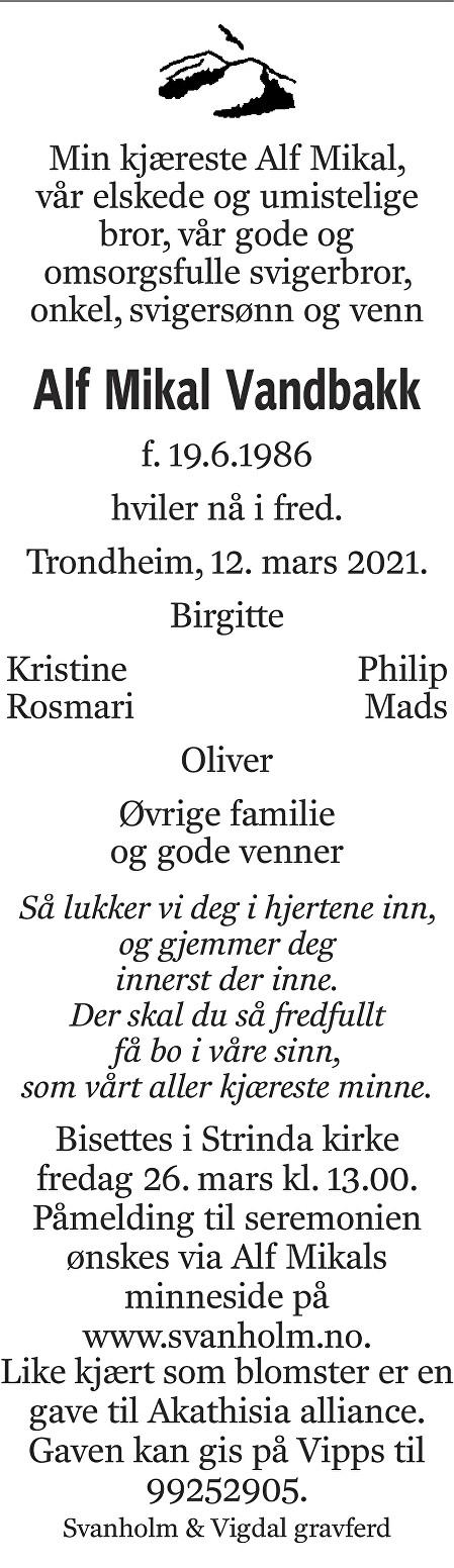 Alf Mikal Vandbakk Dødsannonse