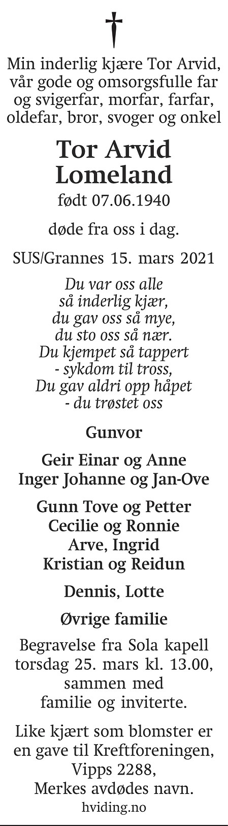 Tor Arvid Lomeland Dødsannonse