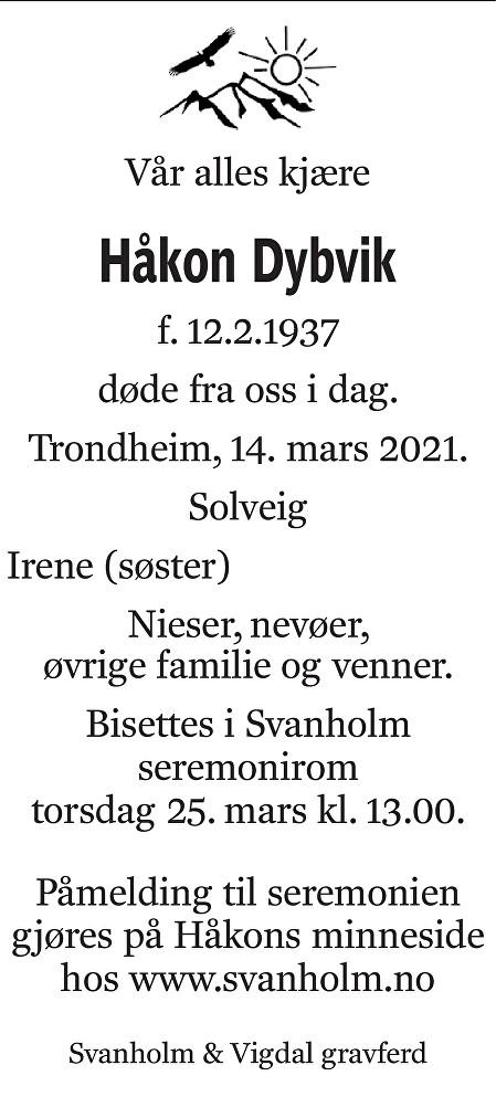 Håkon Dybvik Dødsannonse