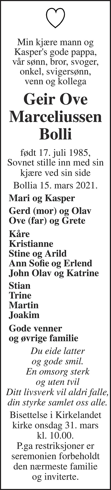 Geir Ove Marceliussen Bolli Dødsannonse