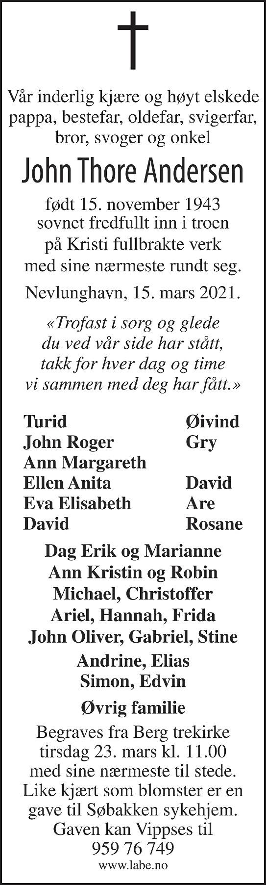 John Thore Andersen Dødsannonse