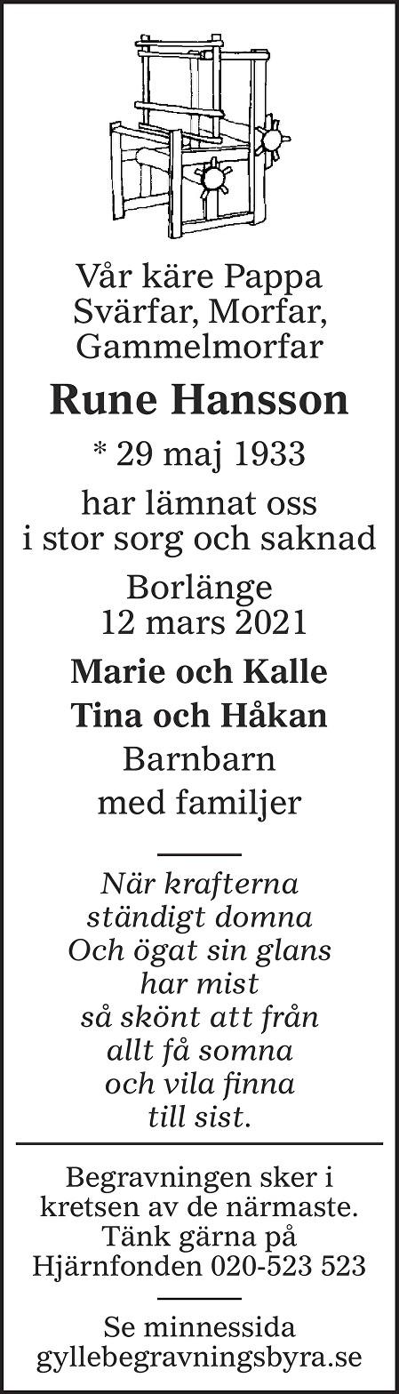 Rune Hansson Death notice