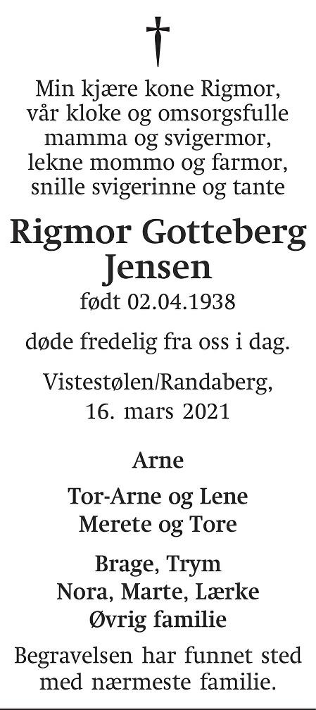 Rigmor Gotteberg Jensen Dødsannonse