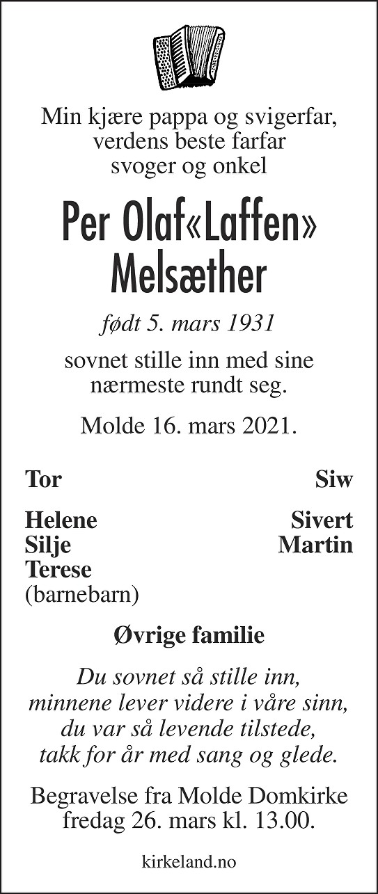 Per Olaf Melsæther Dødsannonse